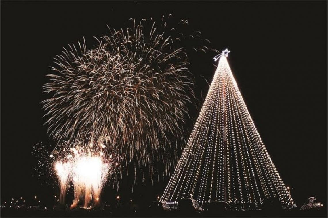Una multitud de vecinos presentes en el tradicional encendido del árbol de navidad