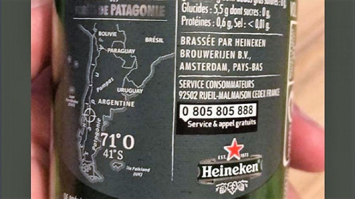 Una imagen de la cerveza Heiniken muestra a las Malvinas con británicas