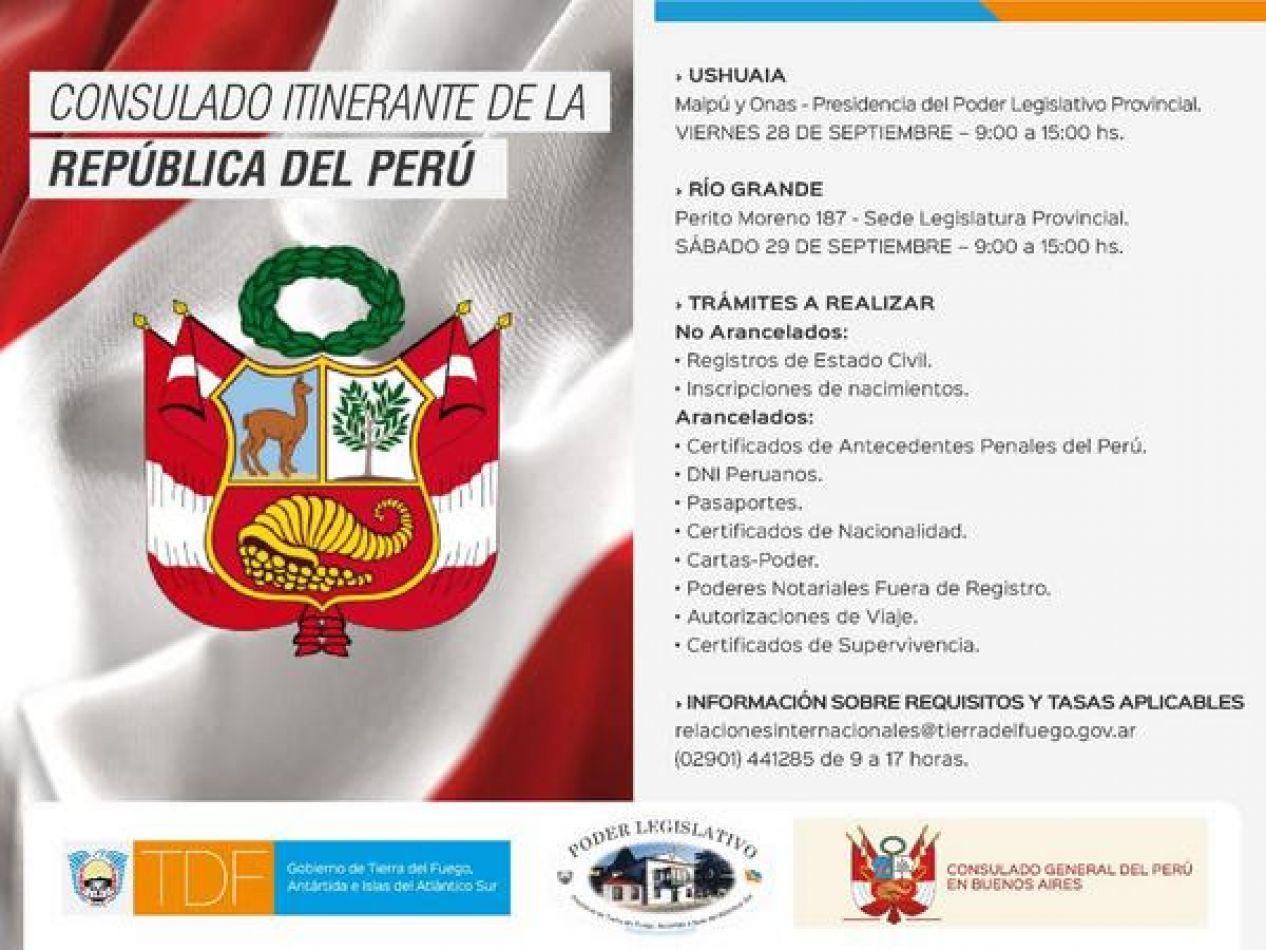 El Consulado Itinerante de Perú atenderá en nuestra provincia