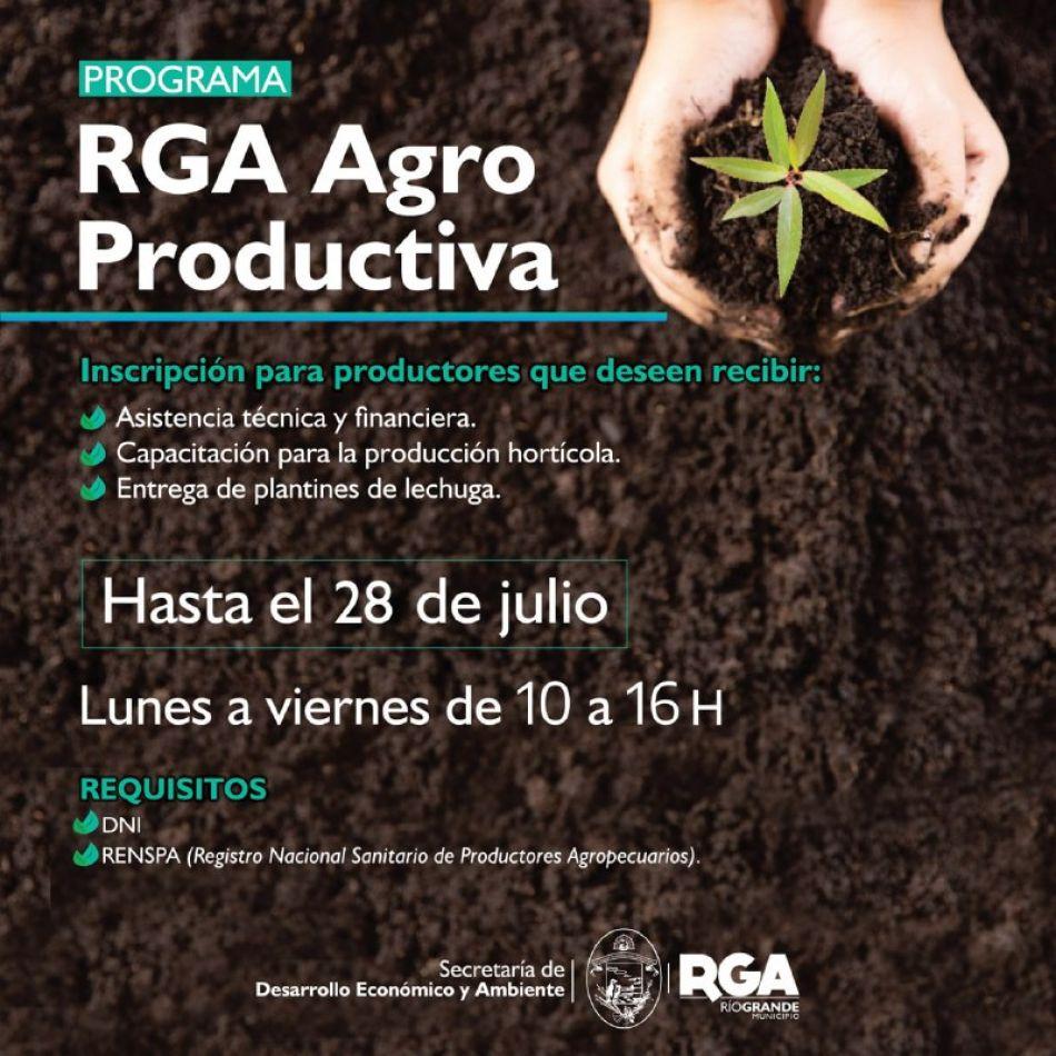 """Continúan abiertas las inscripciones para sumarse al """"RGA Agro Productiva"""""""