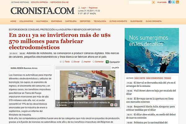 La nota hace hincapie en el desarrollo industrial de Tierra del Fuego.