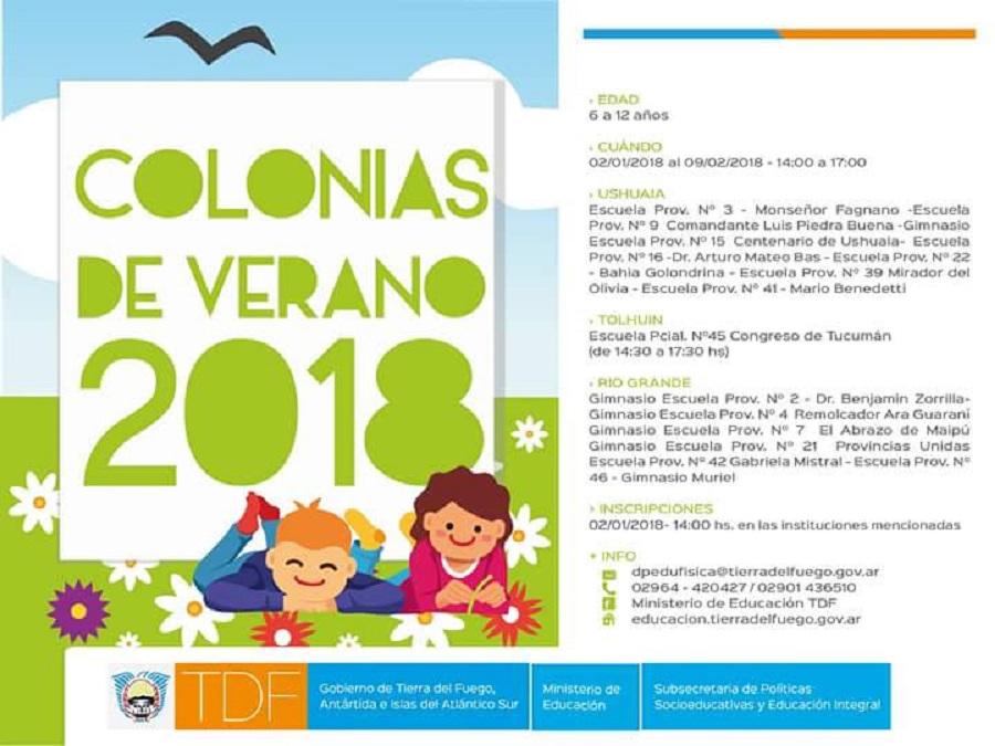 El 2 de enero comenzarán las colonias de vacaciones de Gobierno