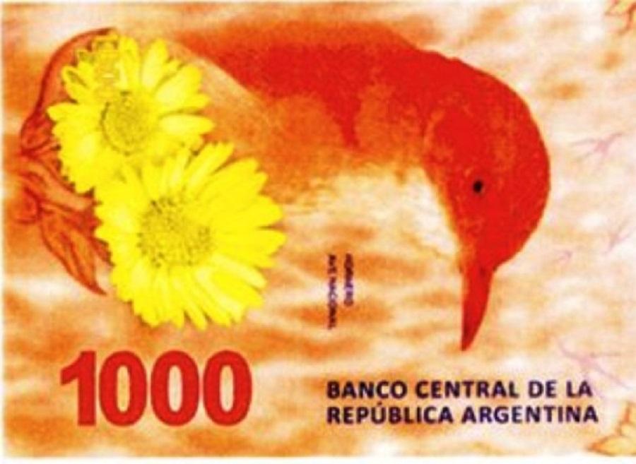 El Banco Central presenta hoy el billete de $1.000 con la figura del hornero