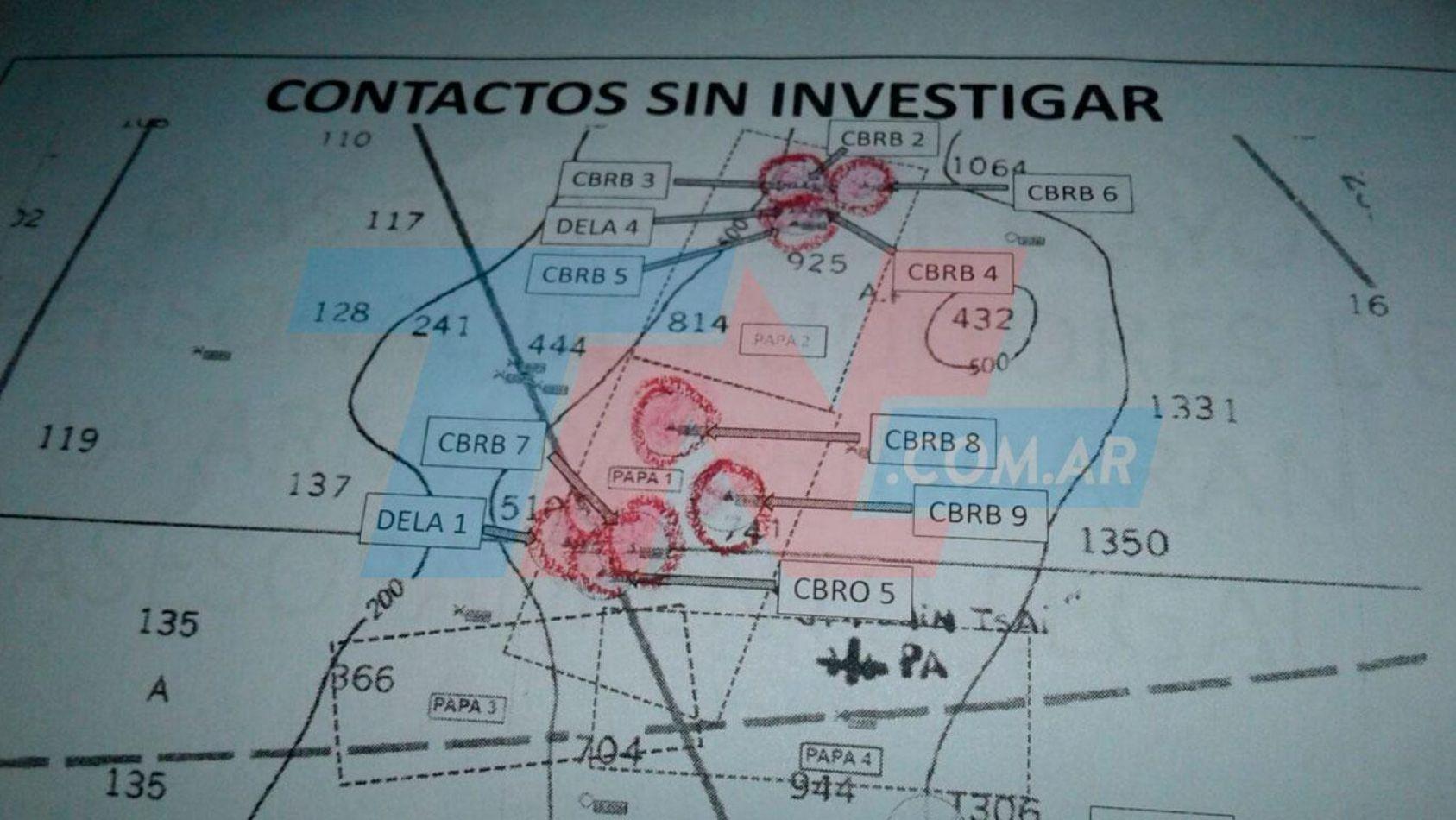 El mapa con los indicios que confeccionó la Armada.