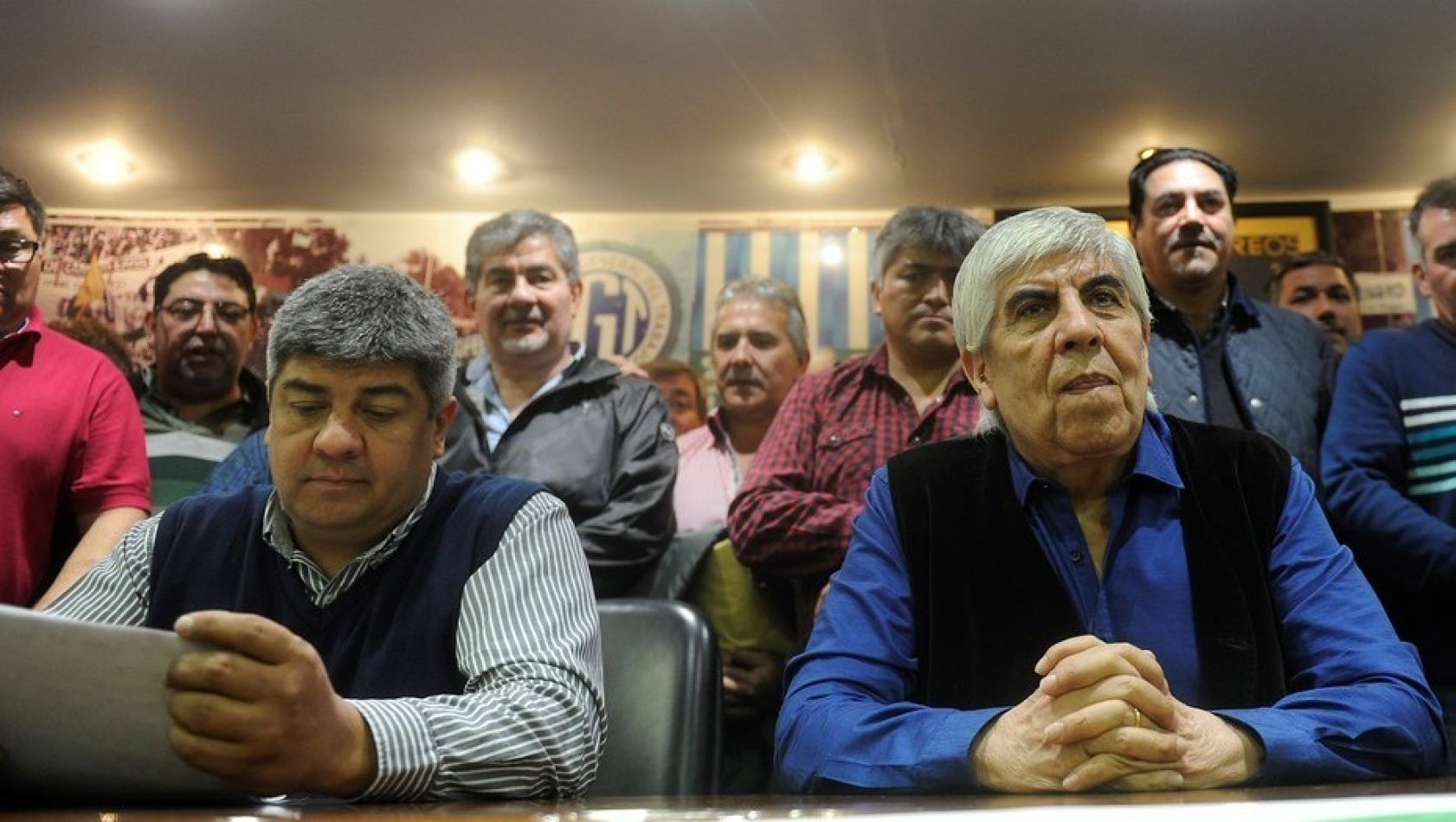 Pablo y Hugo Moyano en la sede del Sindicato de Camioneros. Foto: Alfredo Martínez.