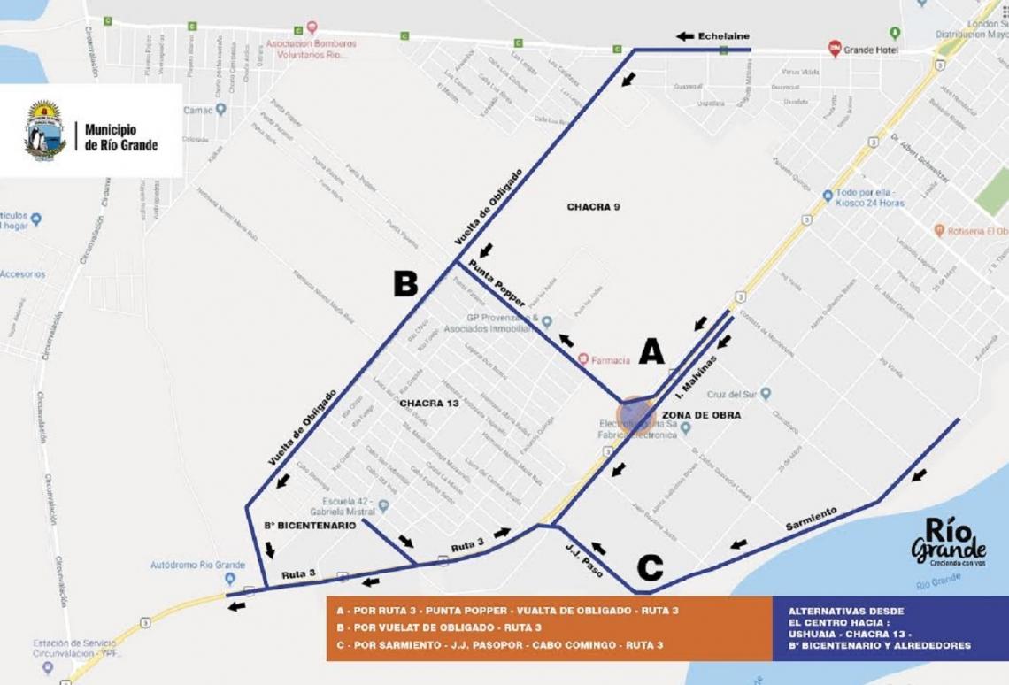 Rotonda de acceso a Chacra XIII: Establecieron alternativas de circulación