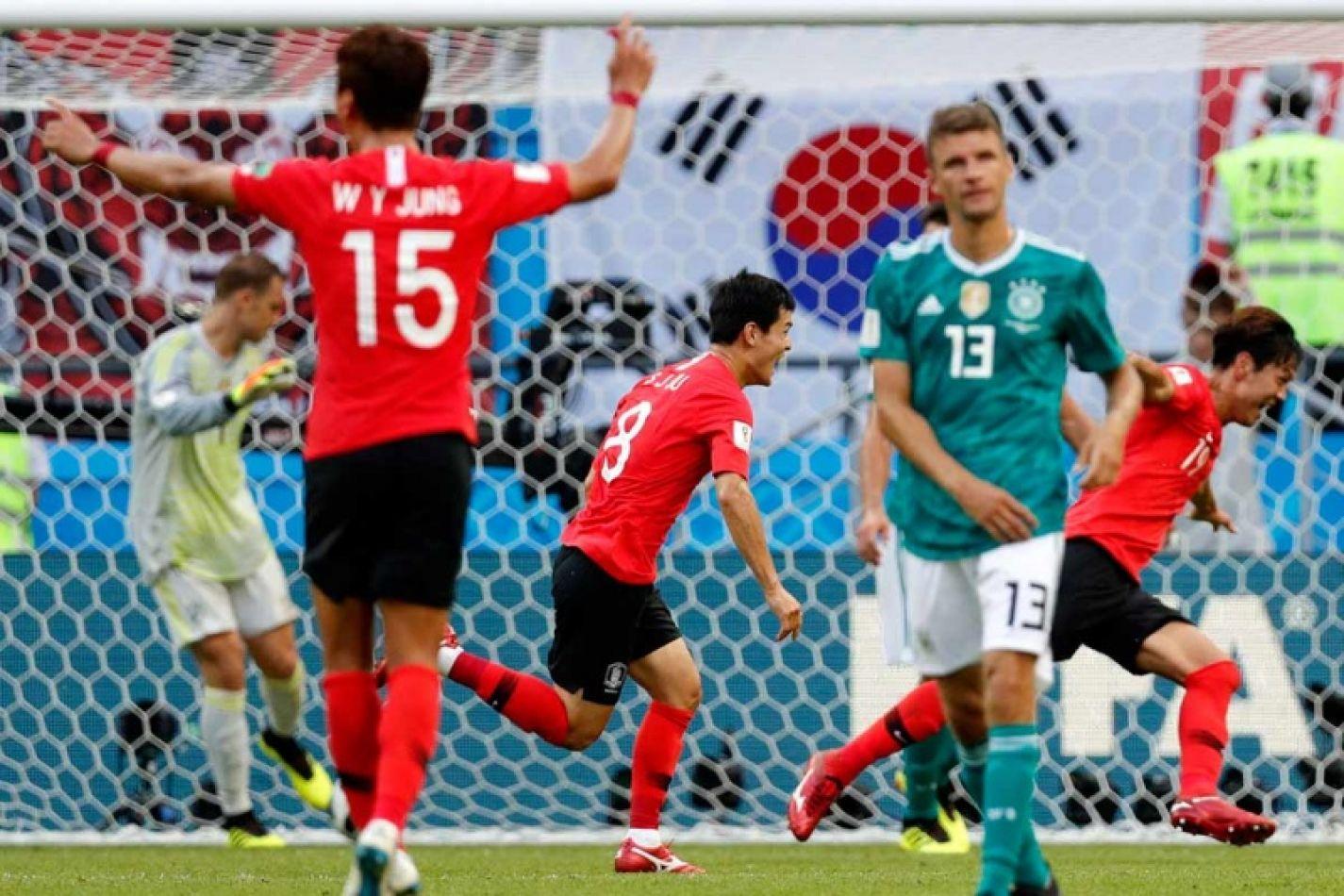 Corea festeja su logro ante Alemania