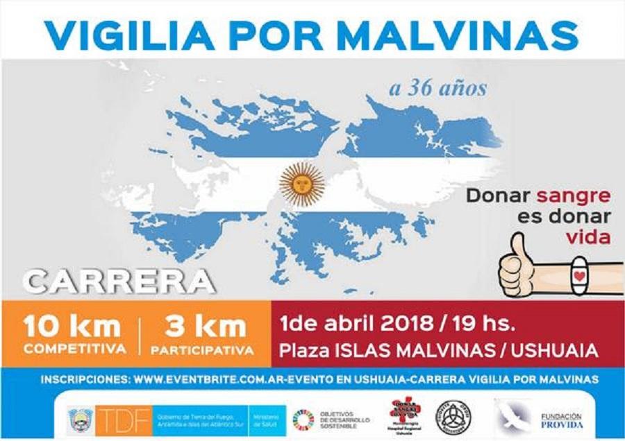 La Carrera Vigilia por Malvinas promoverá la donación de sangre