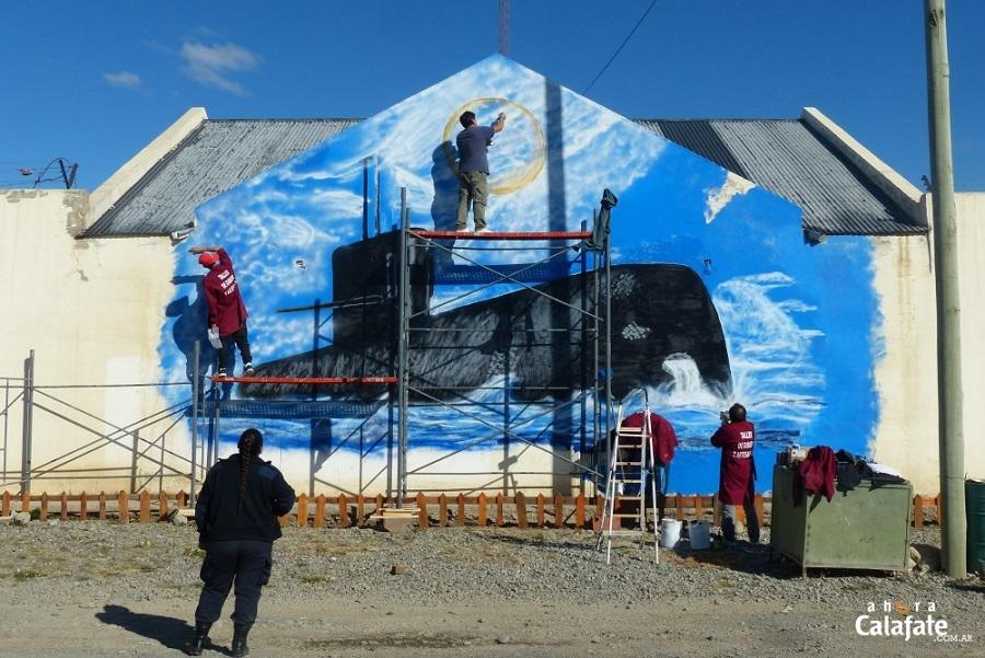 Calafate: Presos pintan mural en homenaje al ARA San Juan