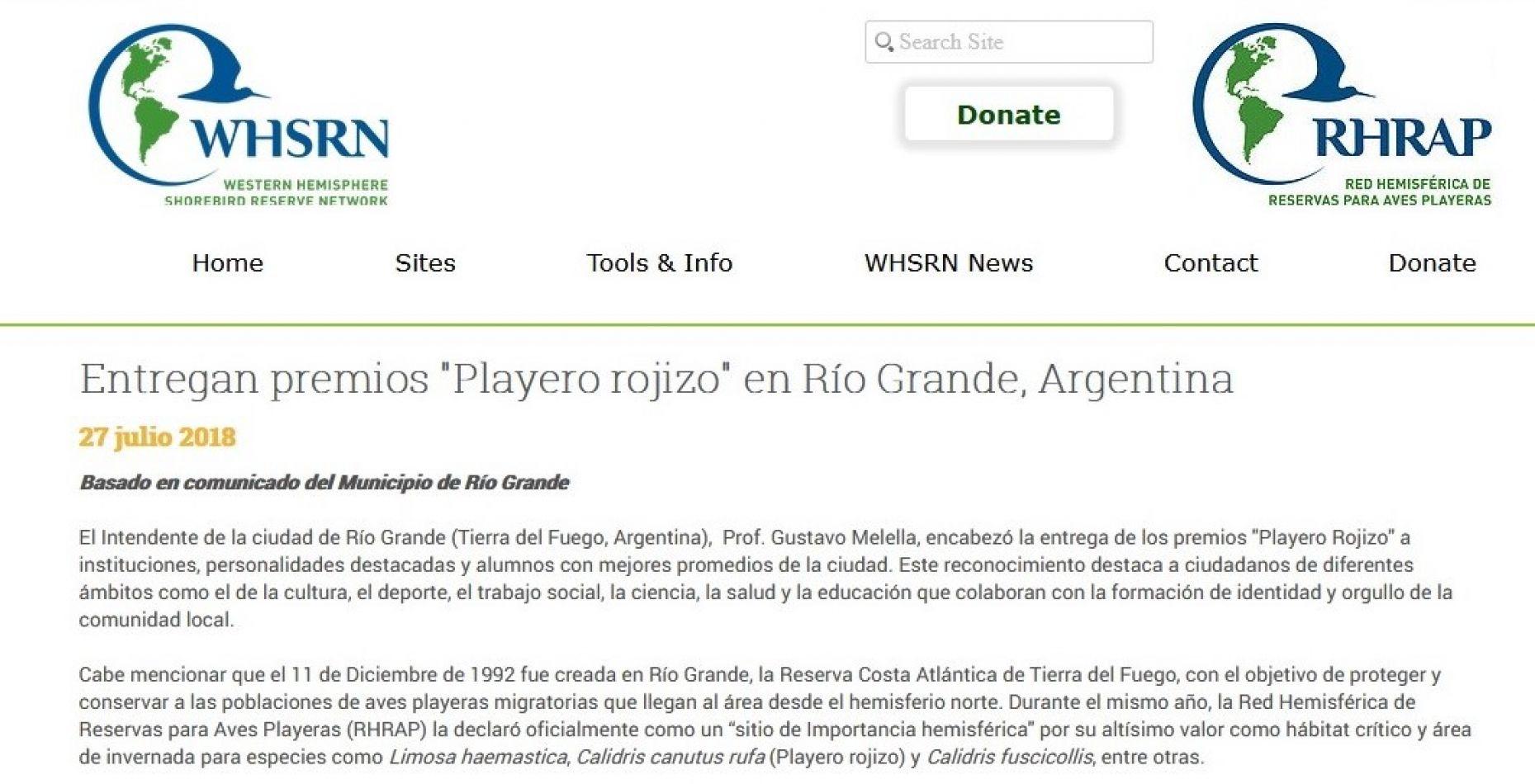 Entrega de los premios Playero Rojizo con repercusión internacional