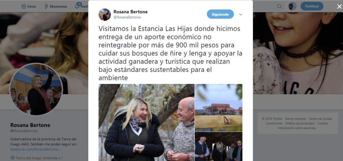 La gobernadora Bertone le regaló más $900 mil a una estancia y lo twiteó
