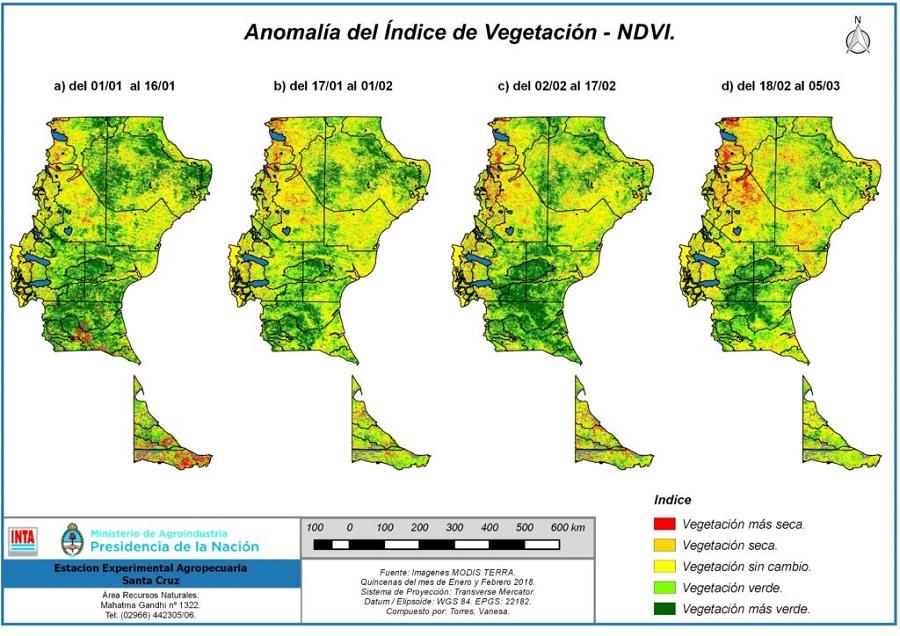 Se publicó el informe trimestral de monitoreo de la condición de la vegetación en Santa Cruz y Tierra del Fuego