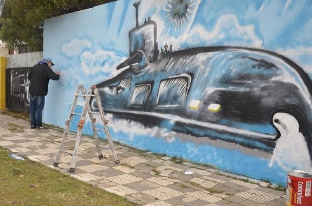 Pintaron un mural en homenaje a los tripulantes del ARA San Juan