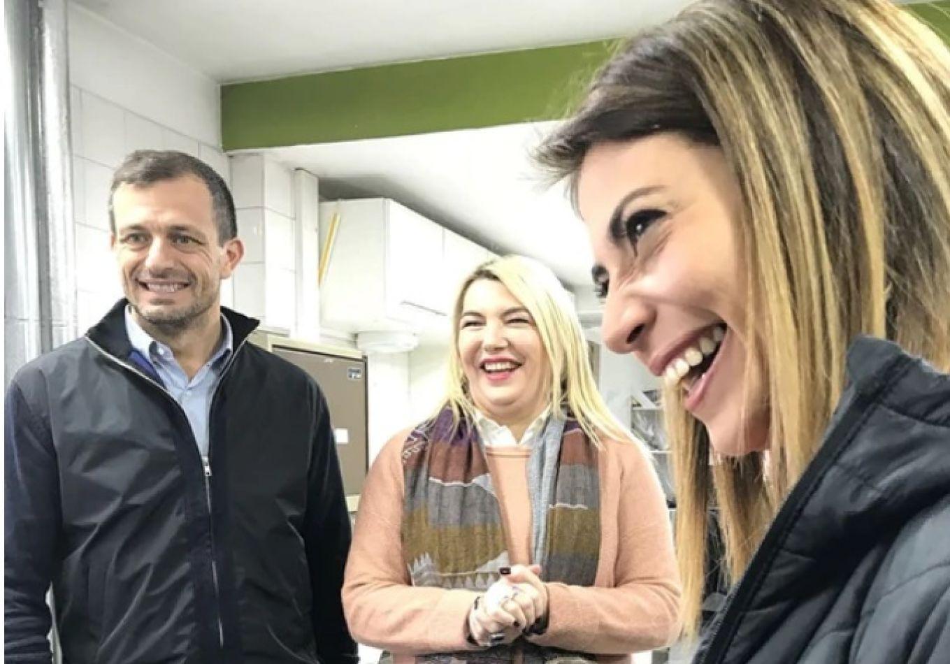 Eduardo 'Bali' Bucca y Florencia Casamiquela, junto a Bertone en Ushuaia.