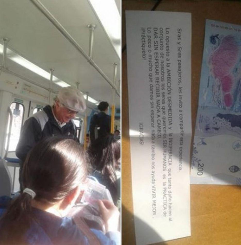 Un abuelo regaló billetes de $200 en el tren Sarmiento y dejó un tierno mensaje