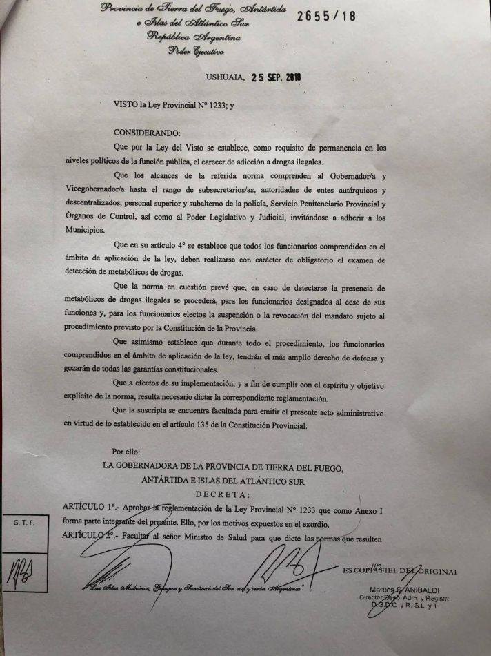 Gobierno reglamentó la ley antidoping para funcionarios
