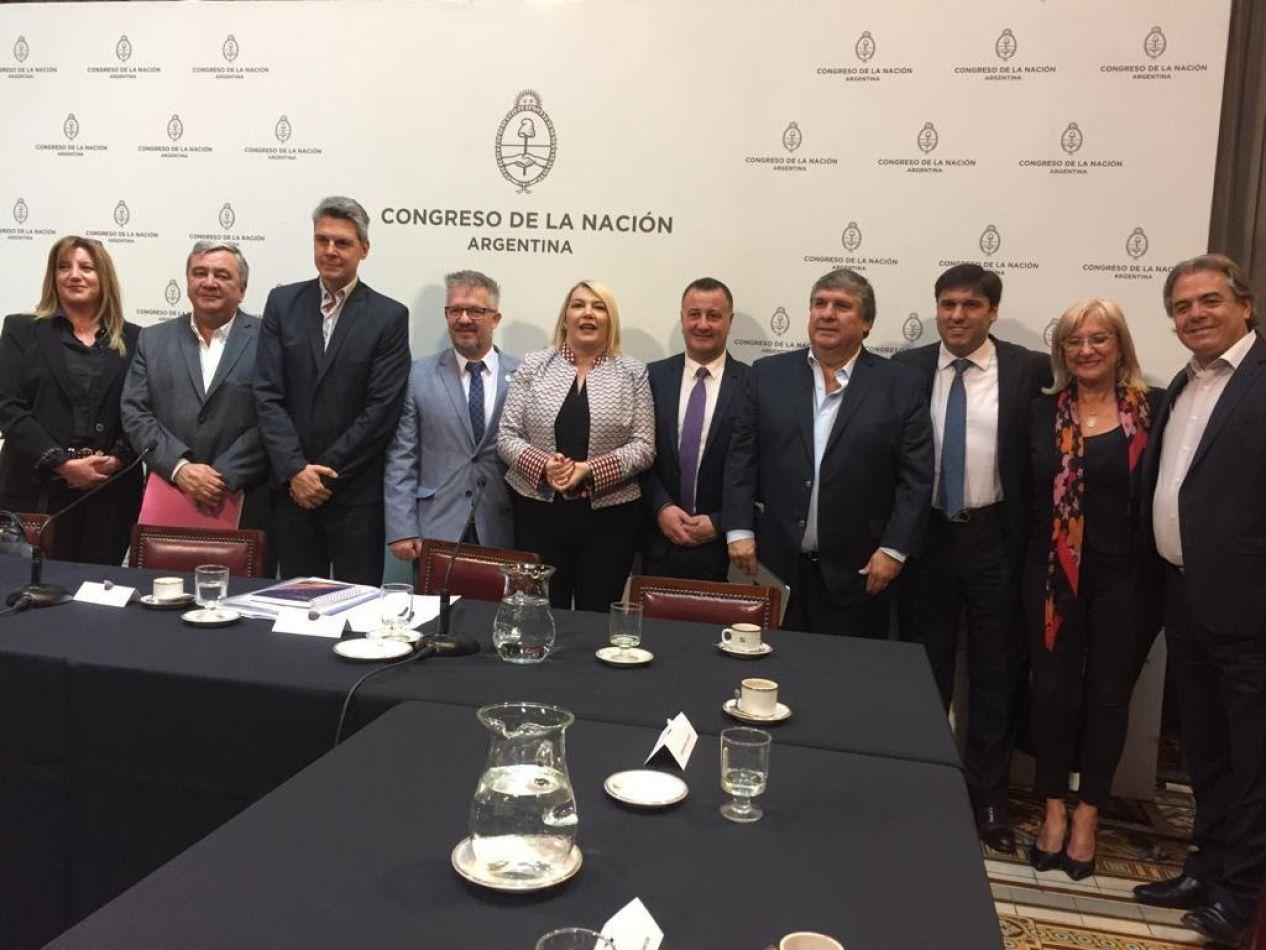 """La mandataria fue acompañada en su presentación por el ministro de Industria Ramiro Caballero, los senadores Julio Catalán Magni y José """"Nato"""" Ojeda."""