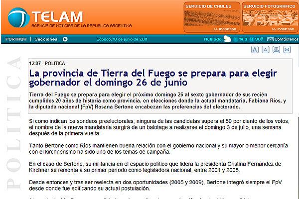 TELAM analizó la contienda electoral fueguina.
