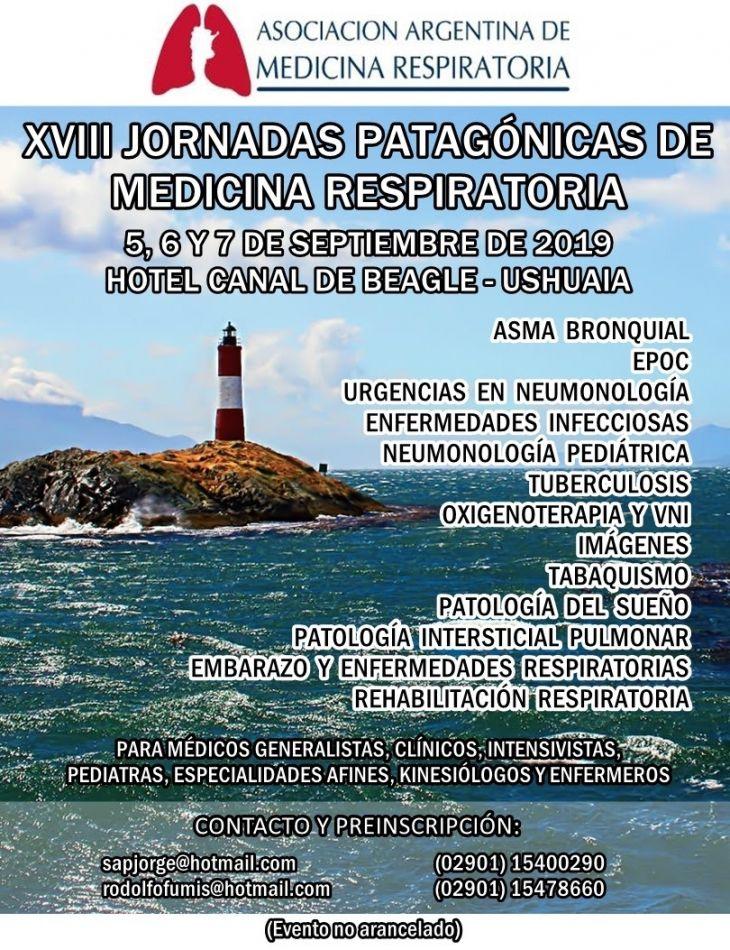 XVIII jornadas Patagónicas de Medicina Respiratoria, que se realizarán en Ushuaia los días 5, 6 y 7 de septiembre en el hotel Canal Beagle.
