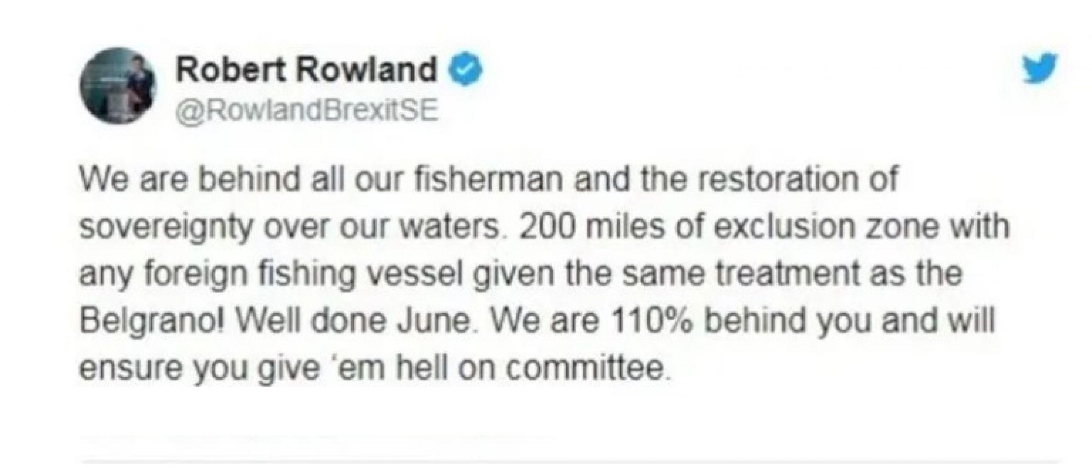 El Gobierno argentino condena enérgicamente las lamentables declaraciones del eurodiputado británico Robert Rowland.