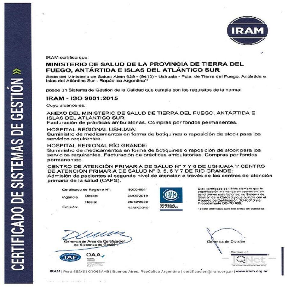 El Ministerio de Salud revalidó la certicificación de calidad ISO 9001:2015