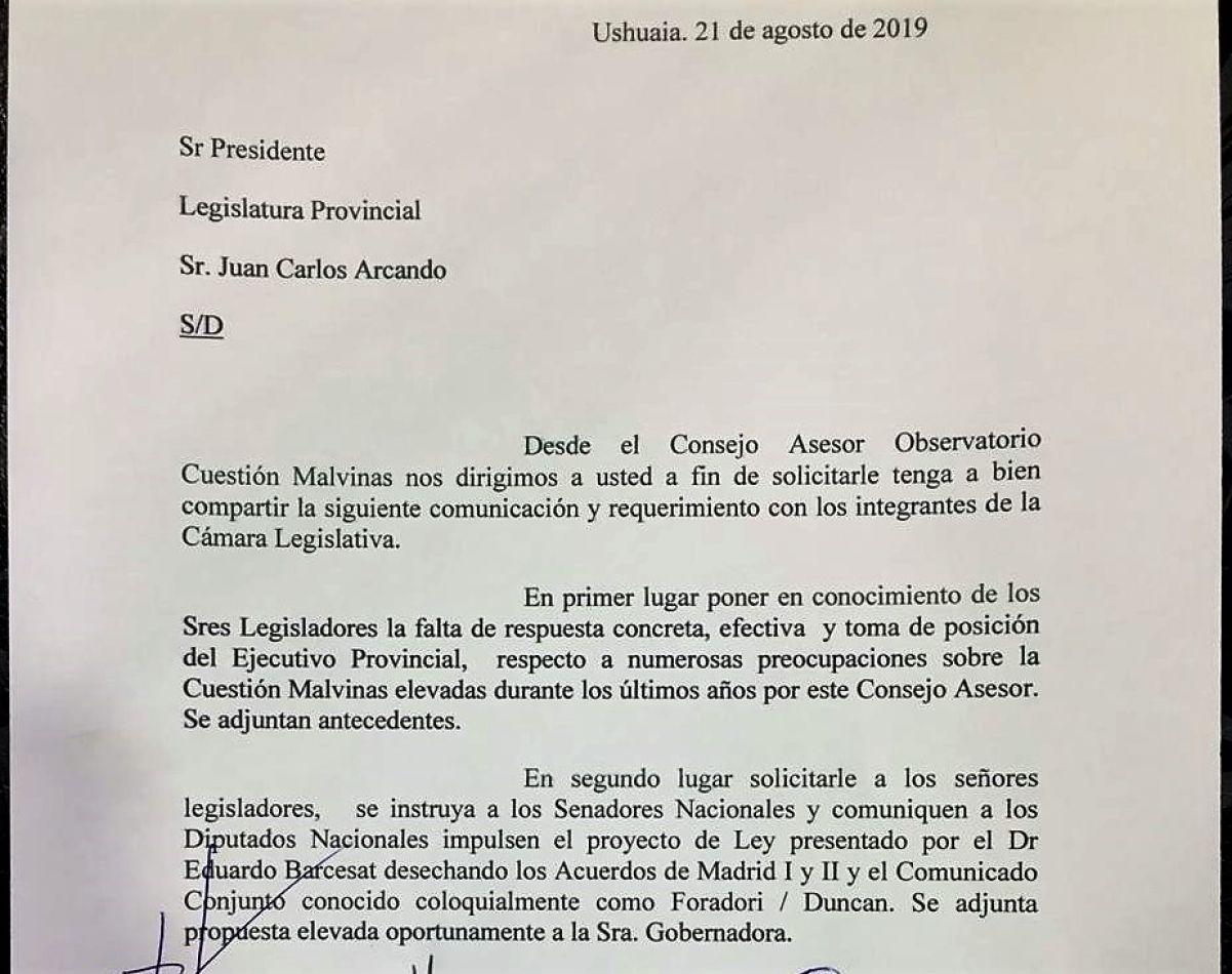 El Observatorio Cuestión Malvinas elevó un petitorio al vicegobernador Juan Carlos Arcando
