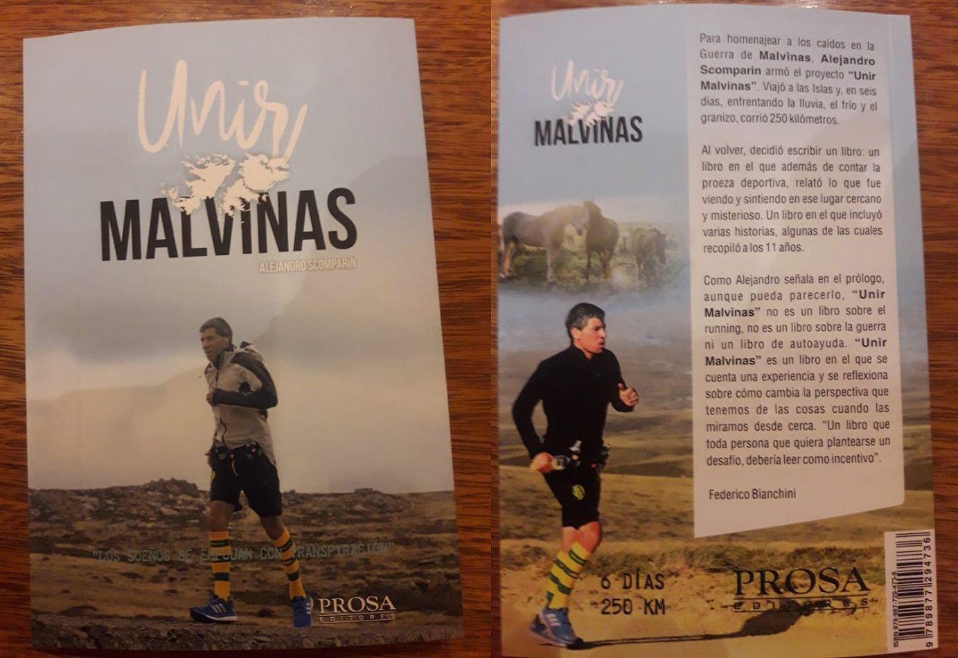 Tapa y contratapa del libro Unir Malvinas escrito por Alejandro Scomparin, director de Relaciones Institucionales de la UTN Buenos Aires.