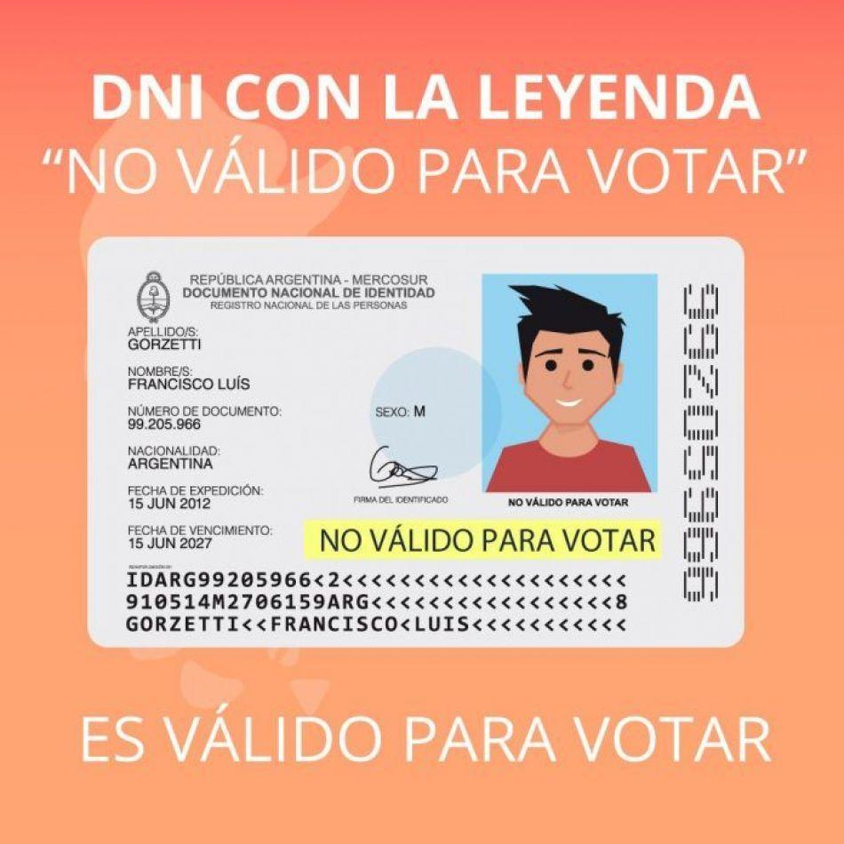 """El DNI que dice """"no válido para votar"""" sí será válido para votar"""