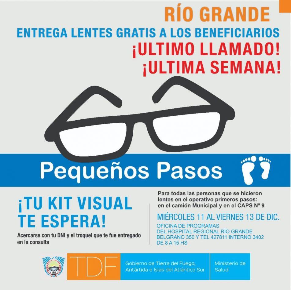 Último llamado: Entrega de lentes gratis a beneficiarios