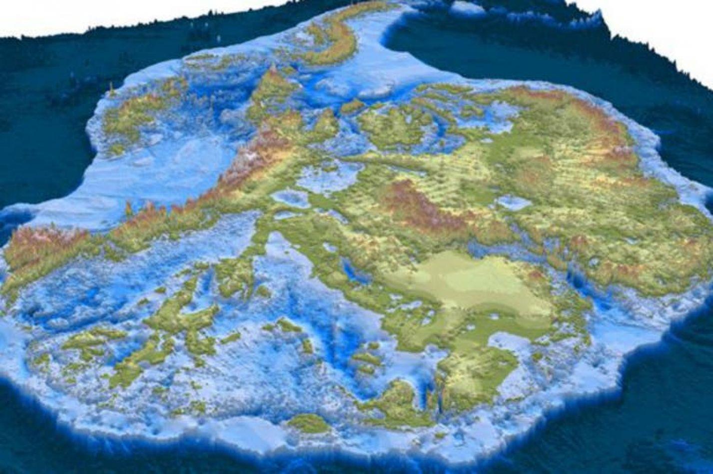 El glaciar Denman, de color azul oscuro, tiene 20 km de ancho y 100 km de largo