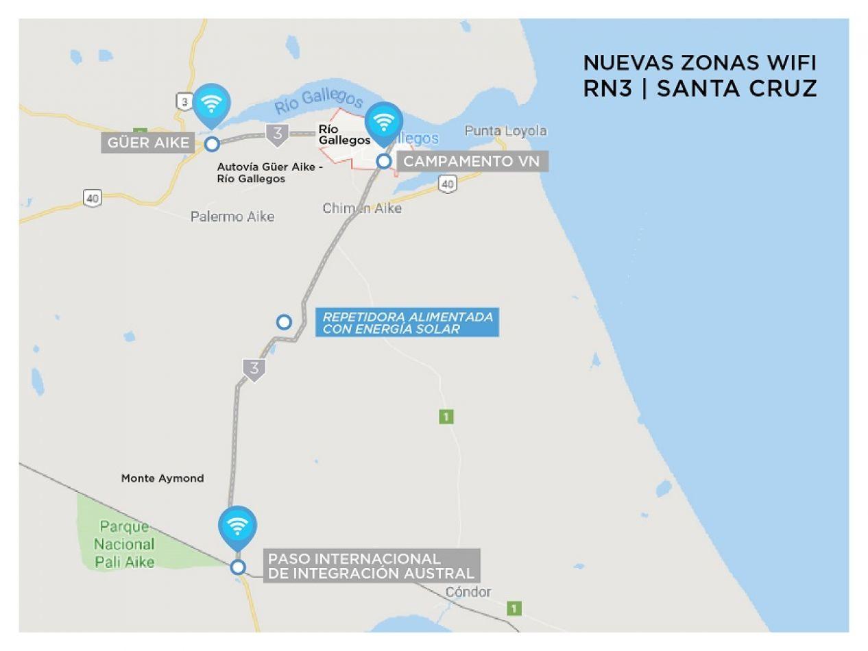 Nuevos puntos de wifi gratuito en rutas Santacruceñas