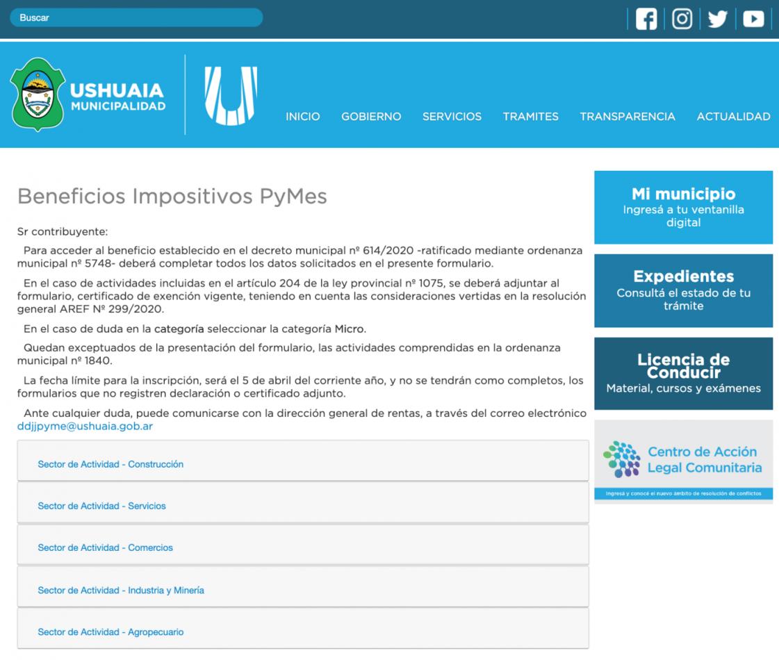 Municipio habilita el formulario online para acceder a los beneficios para las PYMES de Ushuaia