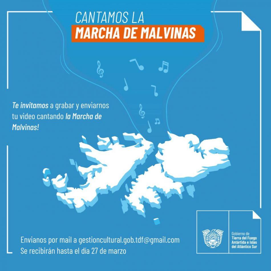 Se invita a la comunidad a grabar un video desde sus hogares cantando la Marcha de Malvinas.