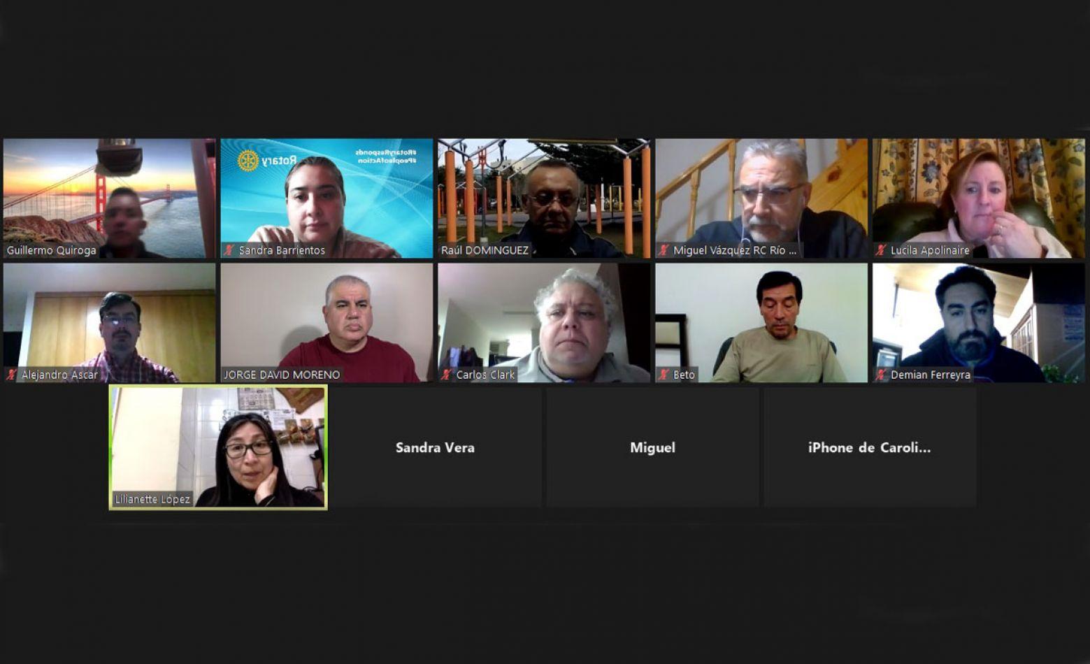 Reunión virtual de la comisión directiva del Rotary Club Río Grande.