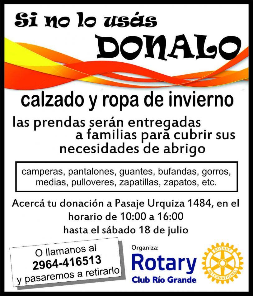 Inician campaña solidaria 'Si no lo usás, DONALO'