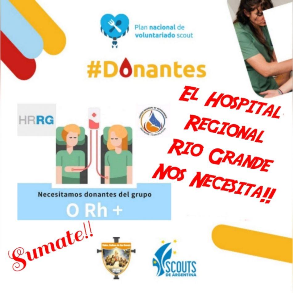 """Desde la Arupación """"Nuestra Señora de los Scouts"""", piden colaborar la donación de sangre para el hospital de Río Grande."""