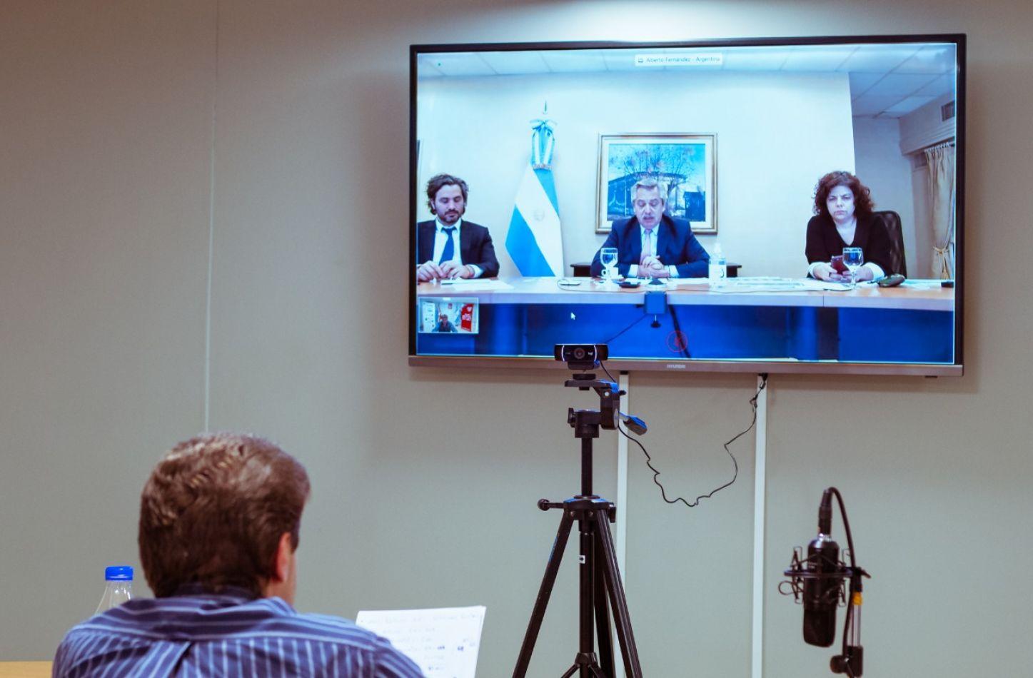 El Gobernador de Tierra del Fuego, AIAS, Gustavo Melella, mantuvo una reunión por videoconferencia con el Presidente Alberto Fernández.