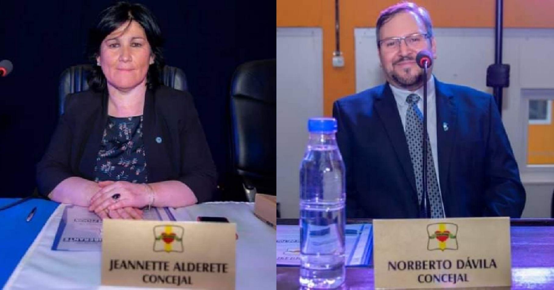 """Los concejales Jeannette Alderete y Norberto Dávila se alejaron de """"Nuevo País"""" y formaron el bloque """"7 de mayo""""."""