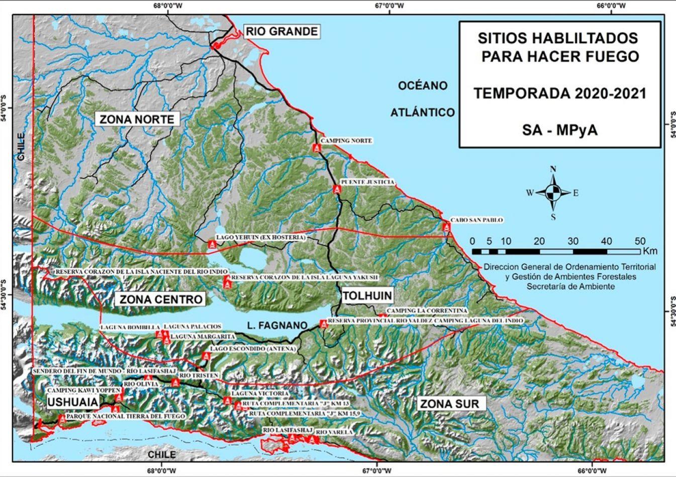 Informe semanal de lugares habilitados para hacer fuego en Tierra del Fuego