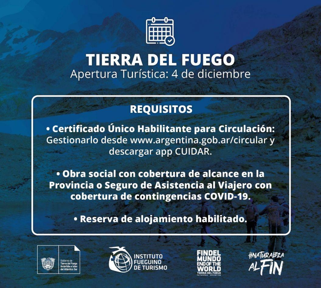 El 4 de diciembre será la apertura turística en Tierra del Fuego