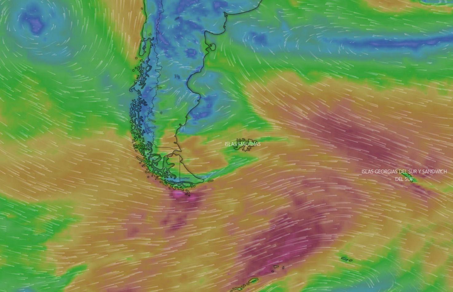 Los vientos intensos podrían extenderse hasta el miércoles. (windy.com).