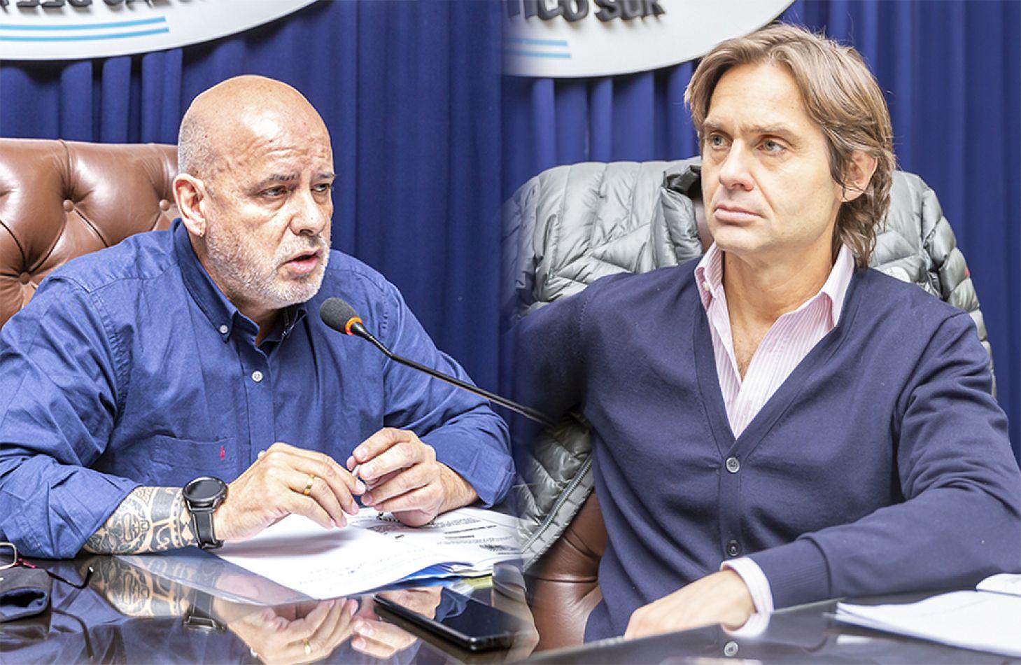 Los presidentes de las Comisiones Nº 2 de Economía, legislador Federico Sciurano (UCR) y Nº 5 de Salud Pública, legislador Daniel Rivarola (FORJA).