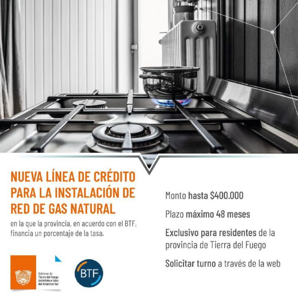 Se mantiene la línea de créditos para familias que necesiten realizar la conexión domiciliaria de gas