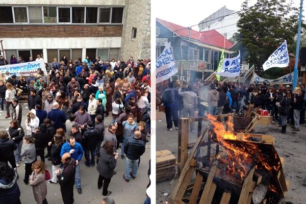 Las protestas ganaron la calle San Martín. (Foto gentileza: Ana Bordón)