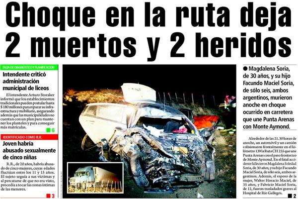 La noticia en la portada del diario El Pingüino.
