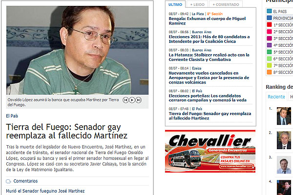 La noticia hace hincapie en la condición sexual de Osvaldo López.