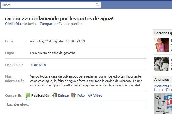 La convocatoria se realizó a través de Facebook.